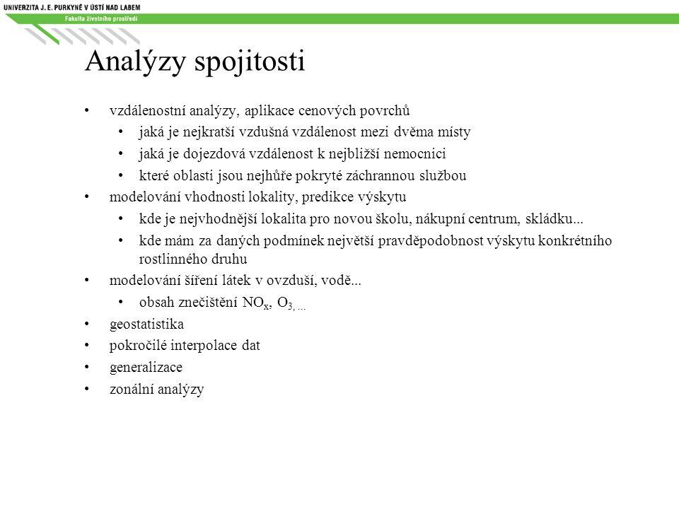 Analýzy spojitosti vzdálenostní analýzy, aplikace cenových povrchů