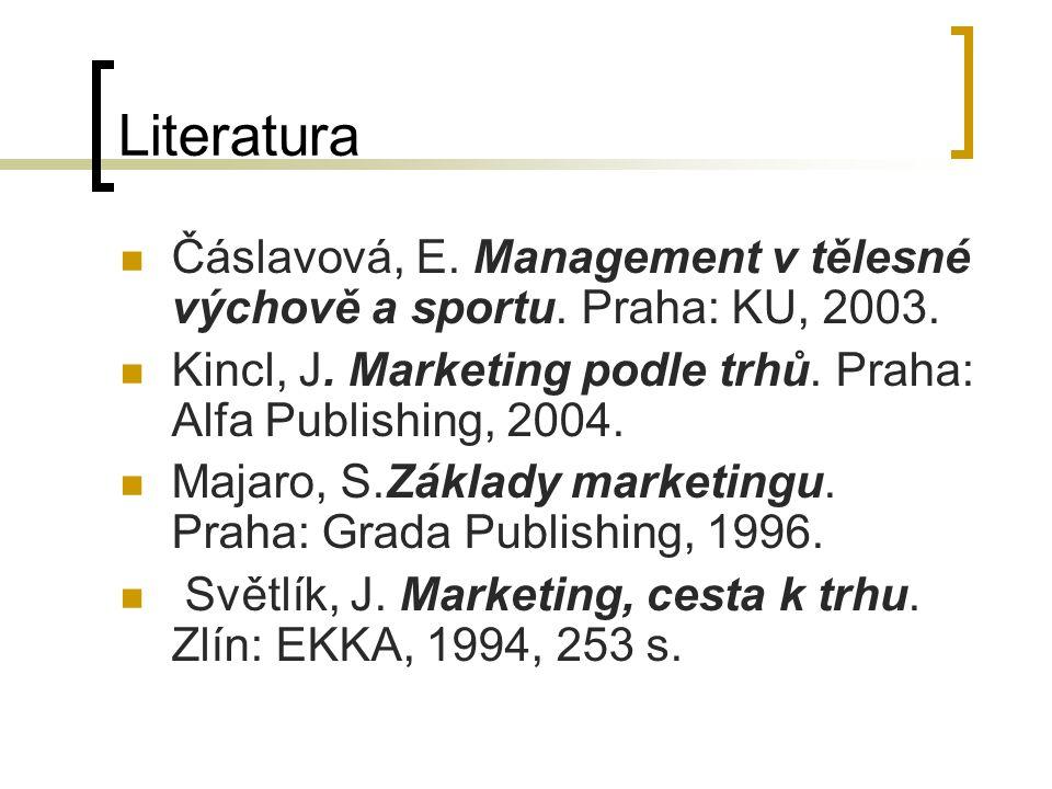 Literatura Čáslavová, E. Management v tělesné výchově a sportu. Praha: KU, 2003. Kincl, J. Marketing podle trhů. Praha: Alfa Publishing, 2004.