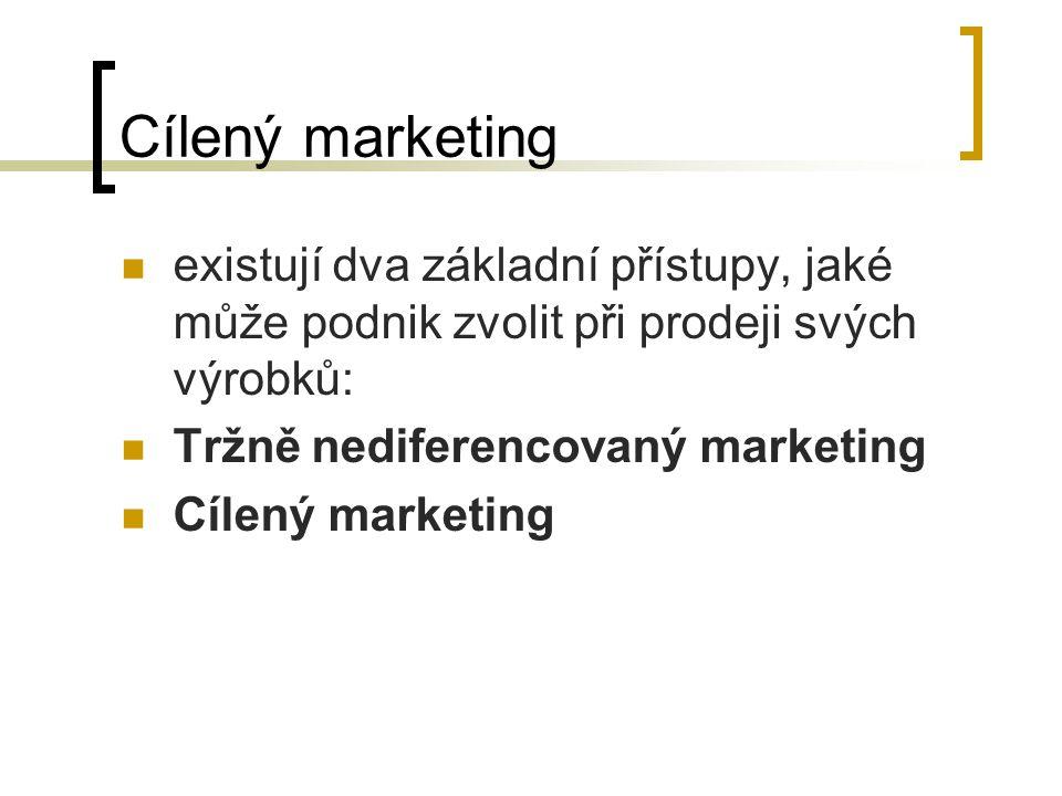 Cílený marketing existují dva základní přístupy, jaké může podnik zvolit při prodeji svých výrobků: