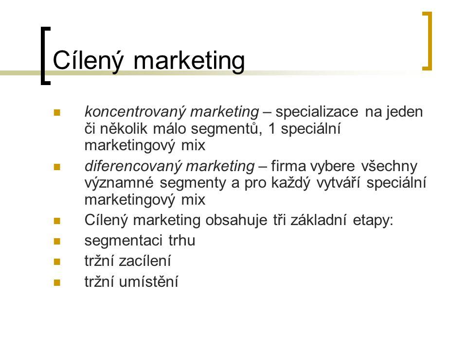 Cílený marketing koncentrovaný marketing – specializace na jeden či několik málo segmentů, 1 speciální marketingový mix.