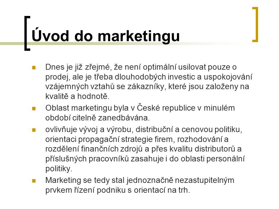 Úvod do marketingu