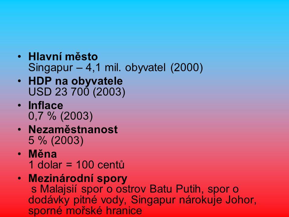 Hlavní město Singapur – 4,1 mil. obyvatel (2000)