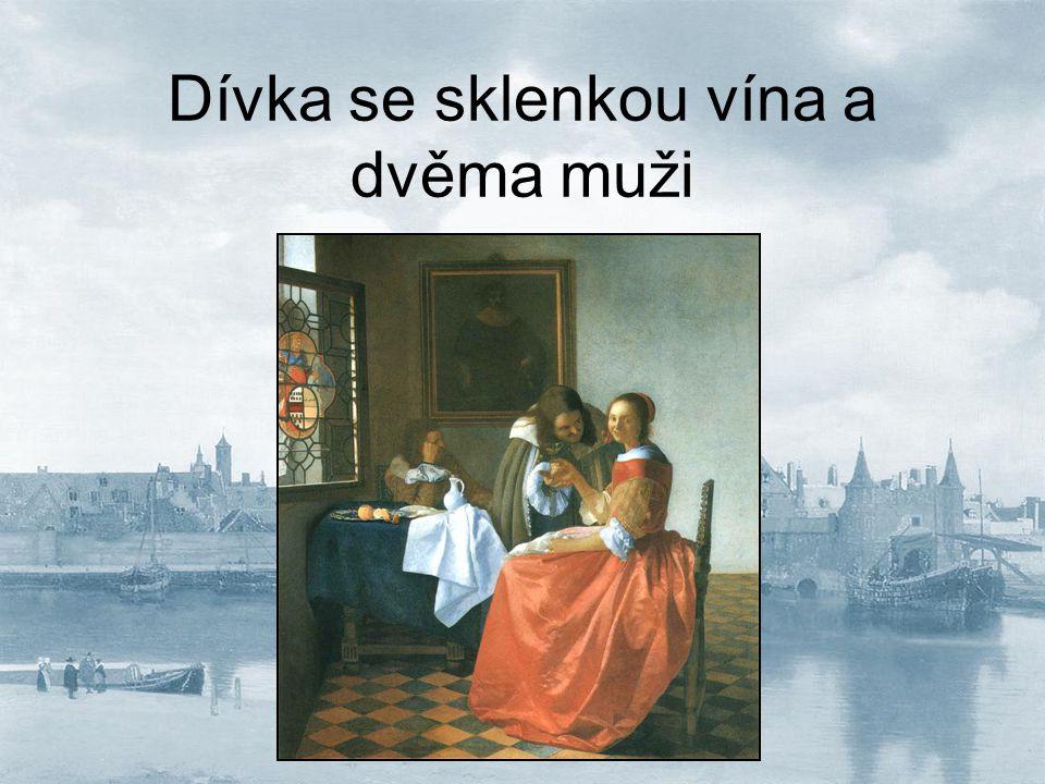 Dívka se sklenkou vína a dvěma muži
