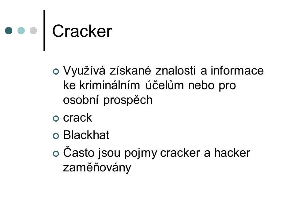 Cracker Využívá získané znalosti a informace ke kriminálním účelům nebo pro osobní prospěch. crack.