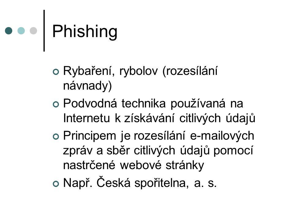 Phishing Rybaření, rybolov (rozesílání návnady)