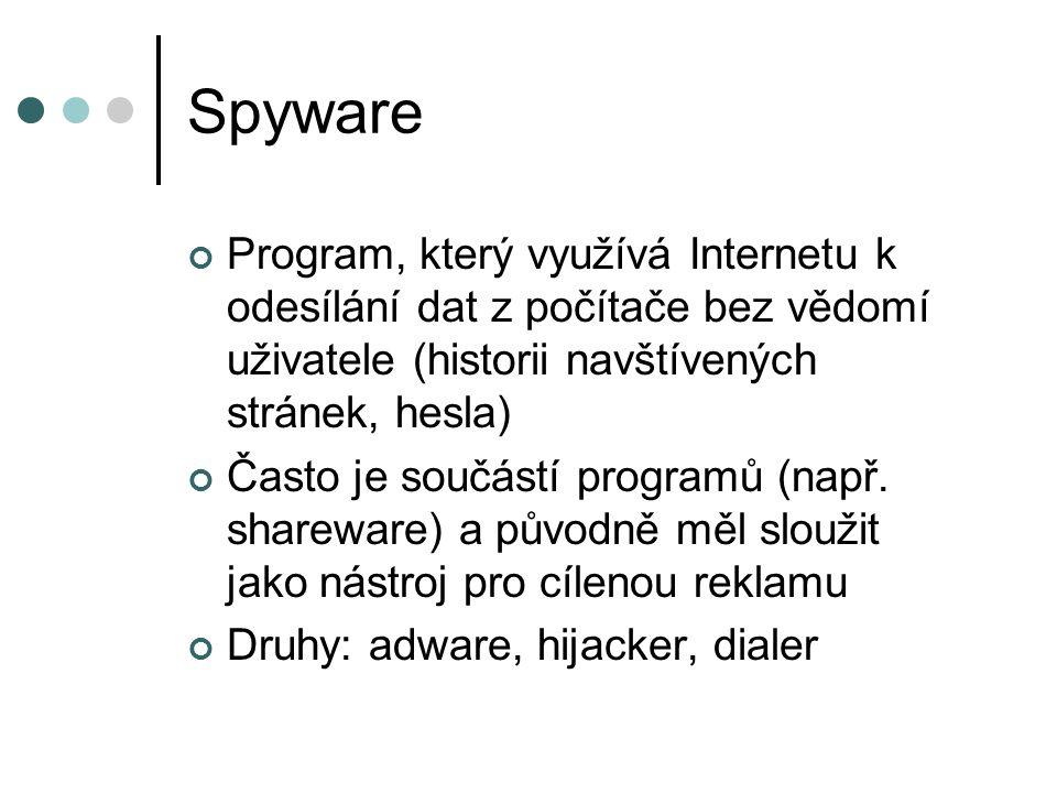 Spyware Program, který využívá Internetu k odesílání dat z počítače bez vědomí uživatele (historii navštívených stránek, hesla)