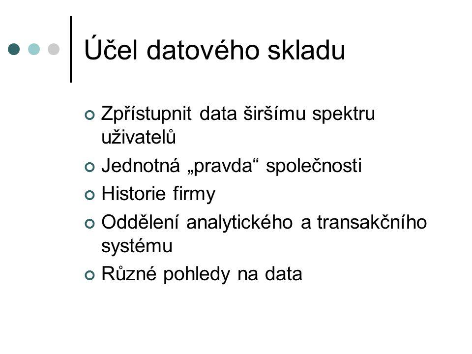 Účel datového skladu Zpřístupnit data širšímu spektru uživatelů