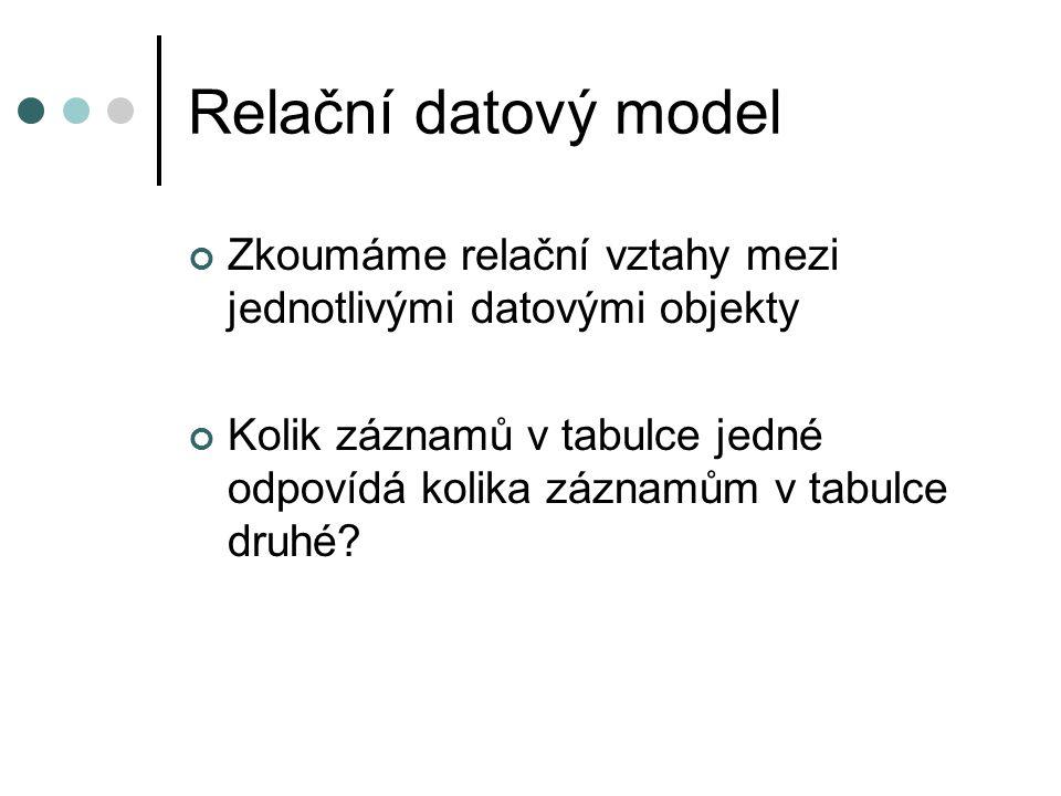 Relační datový model Zkoumáme relační vztahy mezi jednotlivými datovými objekty.
