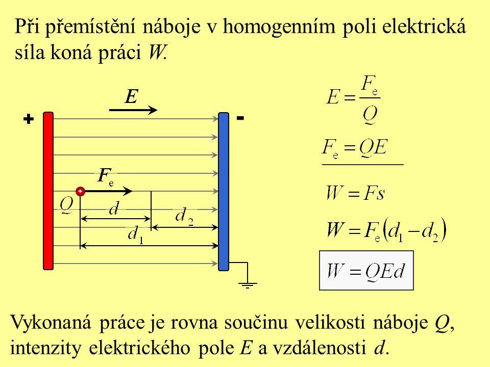 - Při přemístění náboje v homogenním poli elektrická