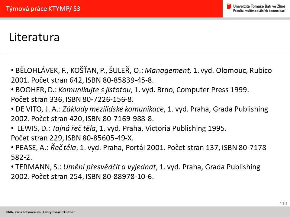 Týmová práce KTYMP/ S3 Literatura.
