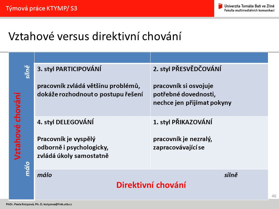 Vztahové versus direktivní chování