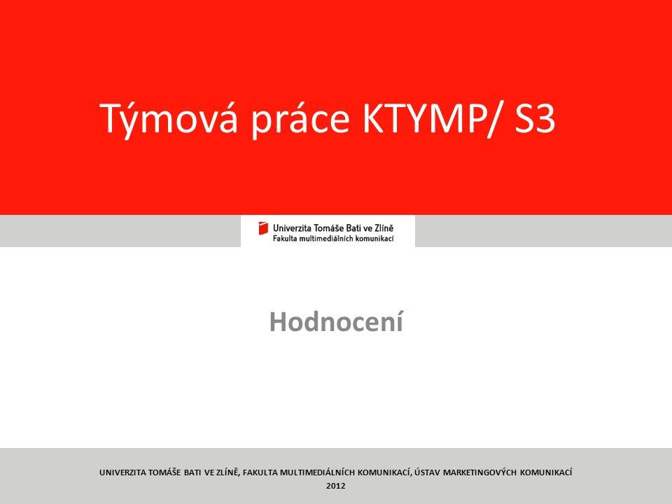 Týmová práce KTYMP/ S3 Hodnocení
