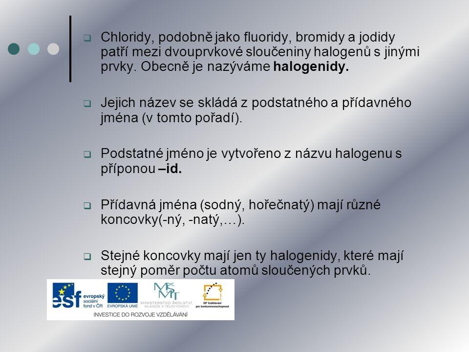 Chloridy, podobně jako fluoridy, bromidy a jodidy patří mezi dvouprvkové sloučeniny halogenů s jinými prvky. Obecně je nazýváme halogenidy.