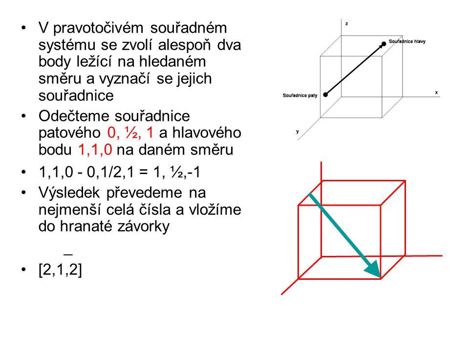 V pravotočivém souřadném systému se zvolí alespoň dva body ležící na hledaném směru a vyznačí se jejich souřadnice