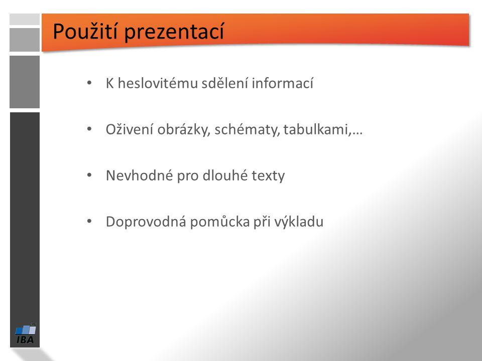 Použití prezentací K heslovitému sdělení informací