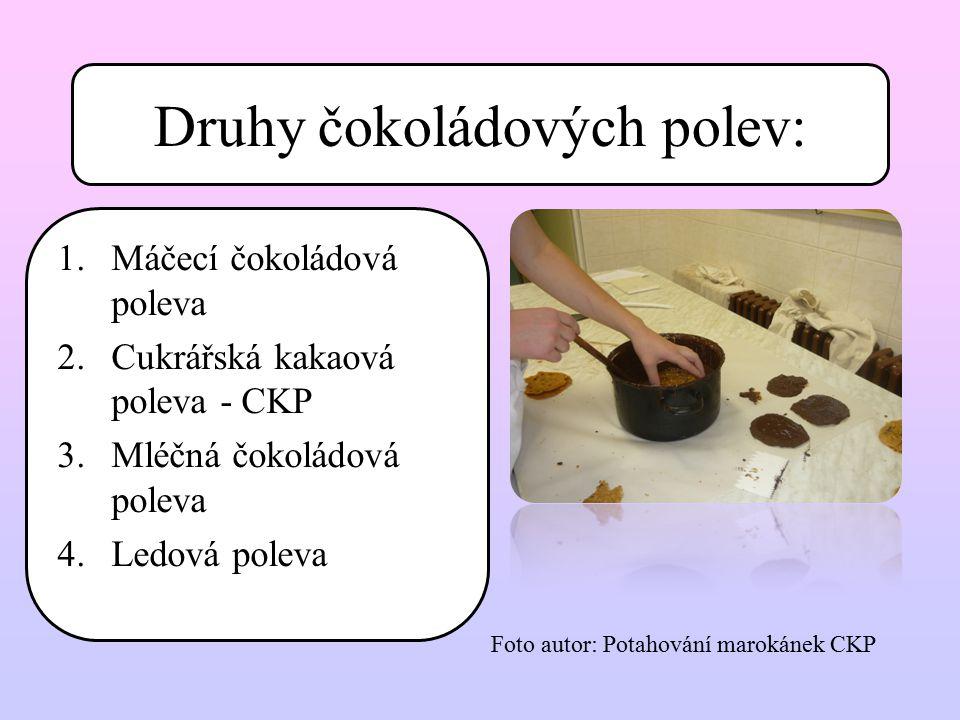 Druhy čokoládových polev:
