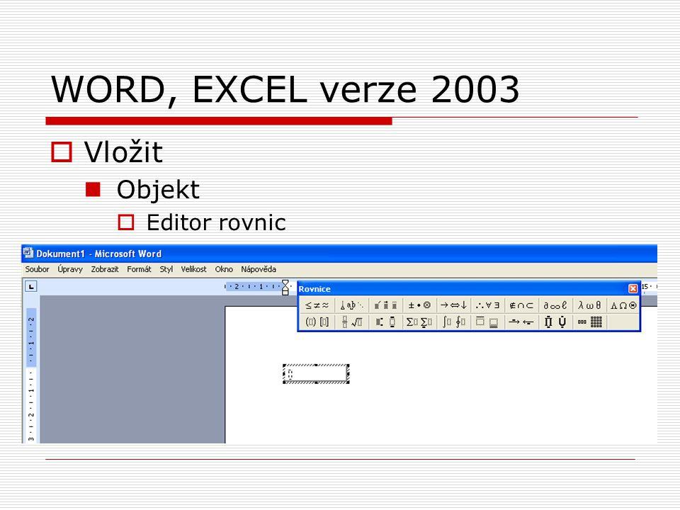 WORD, EXCEL verze 2003 Vložit Objekt Editor rovnic