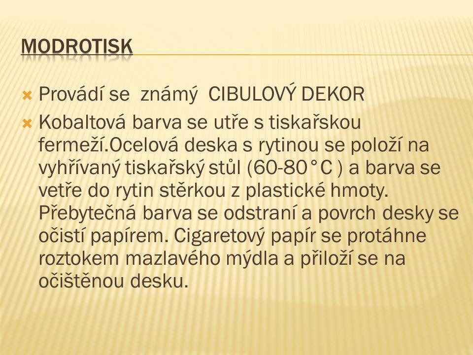 Modrotisk Provádí se známý CIBULOVÝ DEKOR.