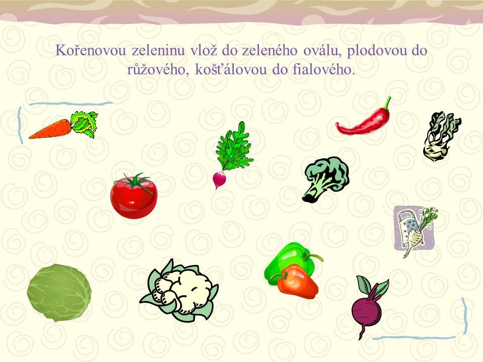 Kořenovou zeleninu vlož do zeleného oválu, plodovou do růžového, košťálovou do fialového.