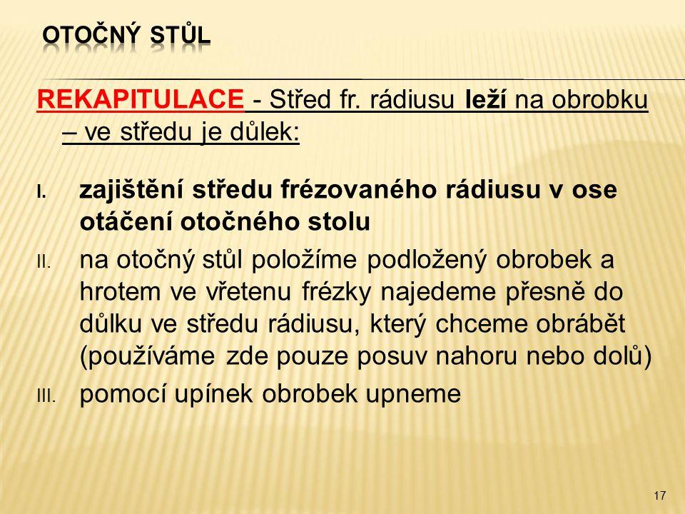 REKAPITULACE - Střed fr. rádiusu leží na obrobku – ve středu je důlek:
