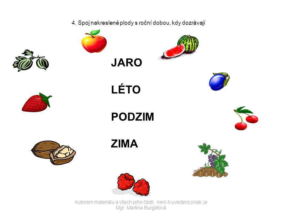 4. Spoj nakreslené plody s roční dobou, kdy dozrávají