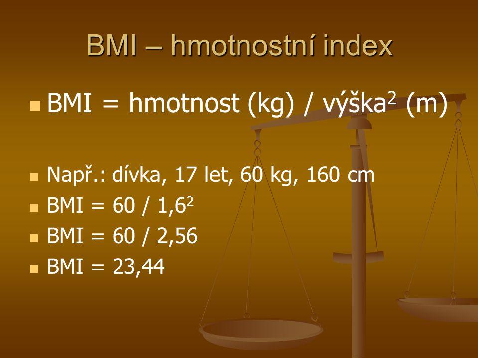 BMI – hmotnostní index BMI = hmotnost (kg) / výška2 (m)