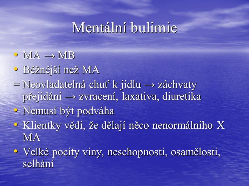 Mentální bulimie MA → MB Běžnější než MA