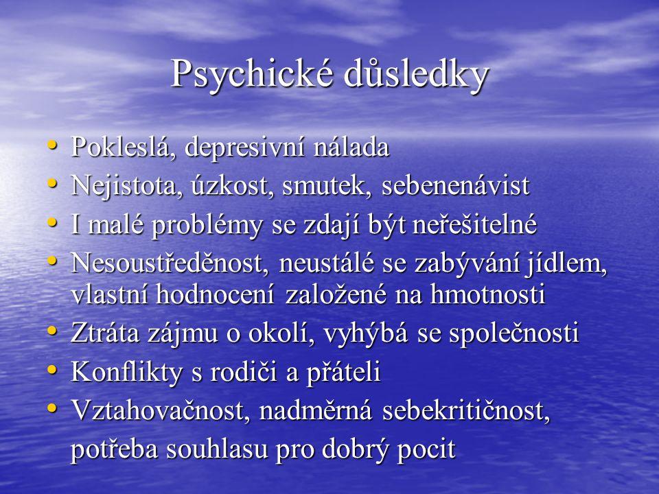 Psychické důsledky Pokleslá, depresivní nálada