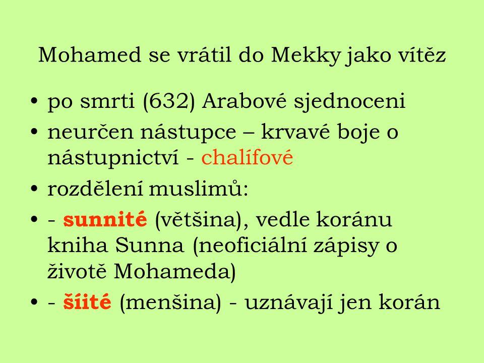 Mohamed se vrátil do Mekky jako vítěz