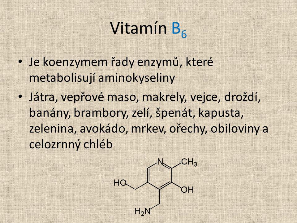 Vitamín B6 Je koenzymem řady enzymů, které metabolisují aminokyseliny