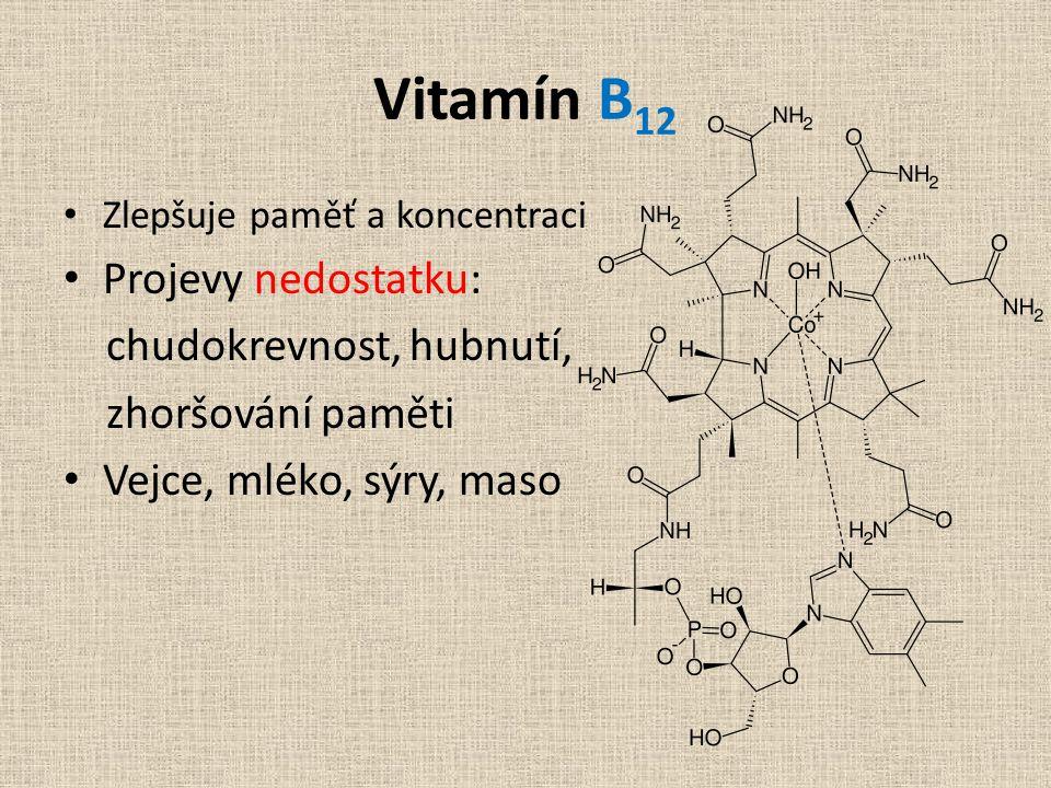 Vitamín B12 Projevy nedostatku: chudokrevnost, hubnutí,