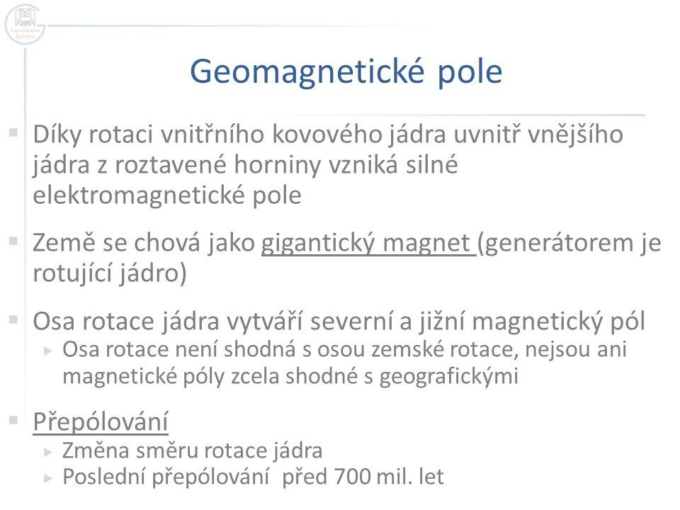 Geomagnetické pole Díky rotaci vnitřního kovového jádra uvnitř vnějšího jádra z roztavené horniny vzniká silné elektromagnetické pole.