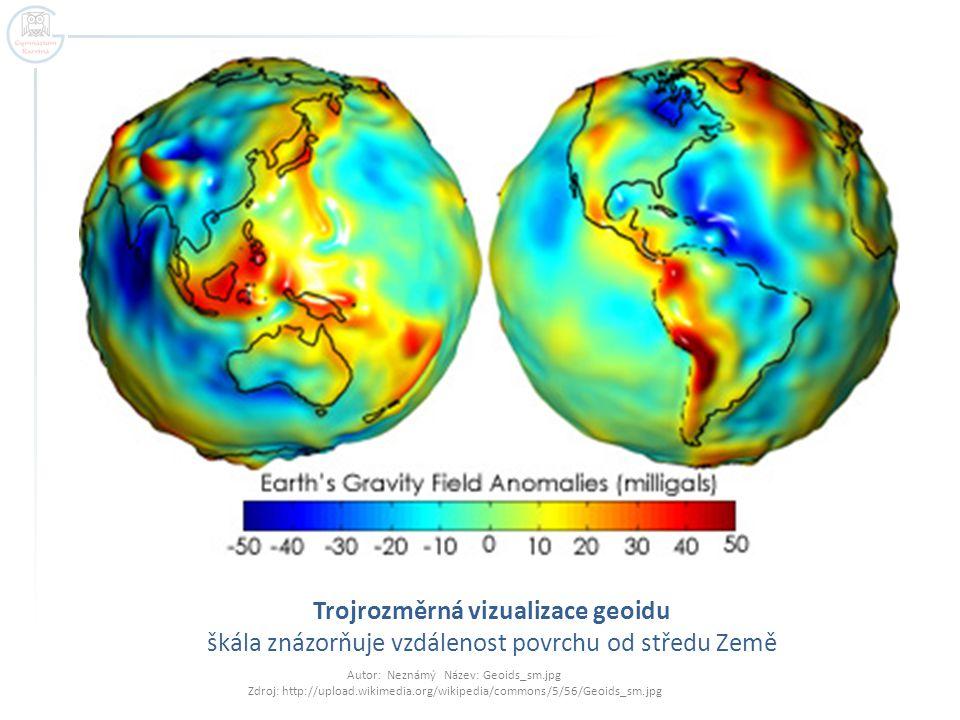 Trojrozměrná vizualizace geoidu škála znázorňuje vzdálenost povrchu od středu Země
