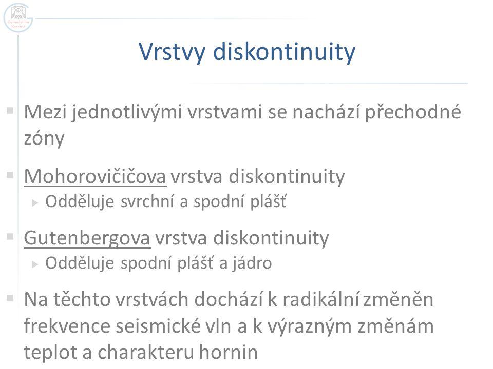 Vrstvy diskontinuity Mezi jednotlivými vrstvami se nachází přechodné zóny. Mohorovičičova vrstva diskontinuity.
