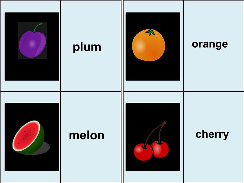 orange plum melon cherry