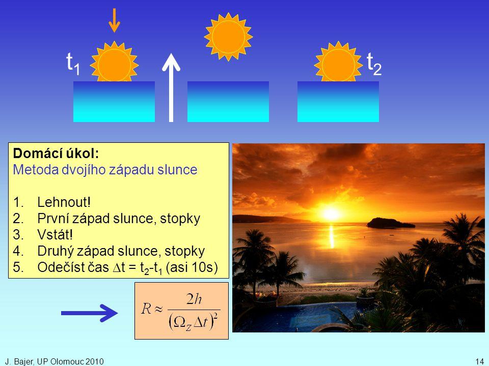 t1 t2 Domácí úkol: Metoda dvojího západu slunce Lehnout!