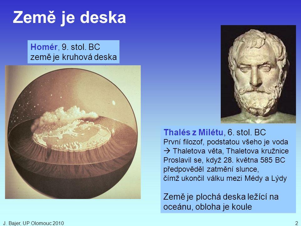 Země je deska Homér, 9. stol. BC země je kruhová deska