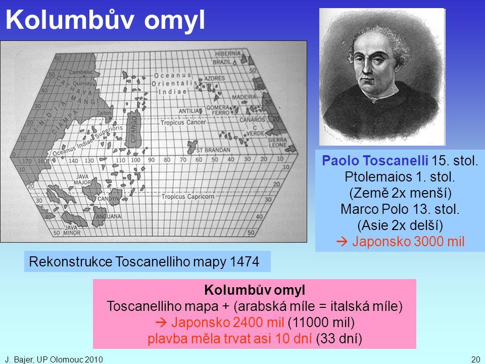 Kolumbův omyl Paolo Toscanelli 15. stol. Ptolemaios 1. stol.