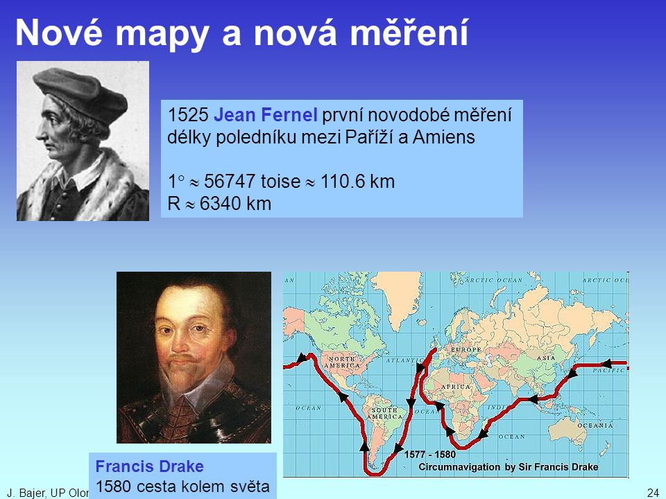 Nové mapy a nová měření 1525 Jean Fernel první novodobé měření
