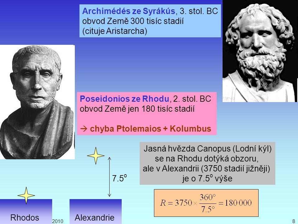 Archimédés ze Syrákús, 3. stol. BC obvod Země 300 tisíc stadií