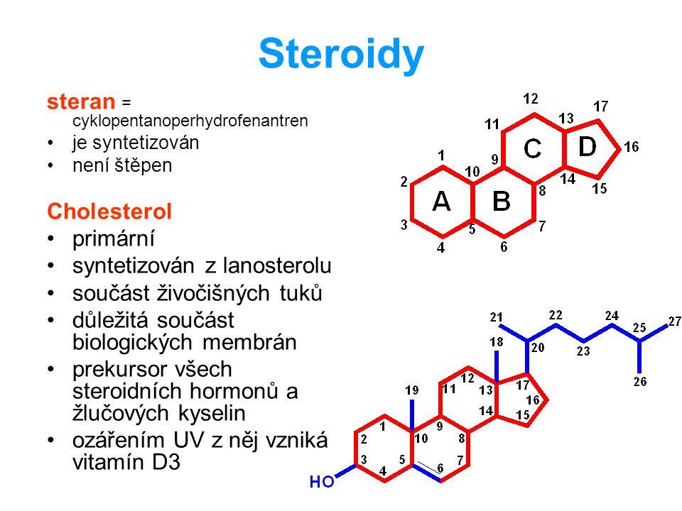 Steroidy steran = cyklopentanoperhydrofenantren Cholesterol primární