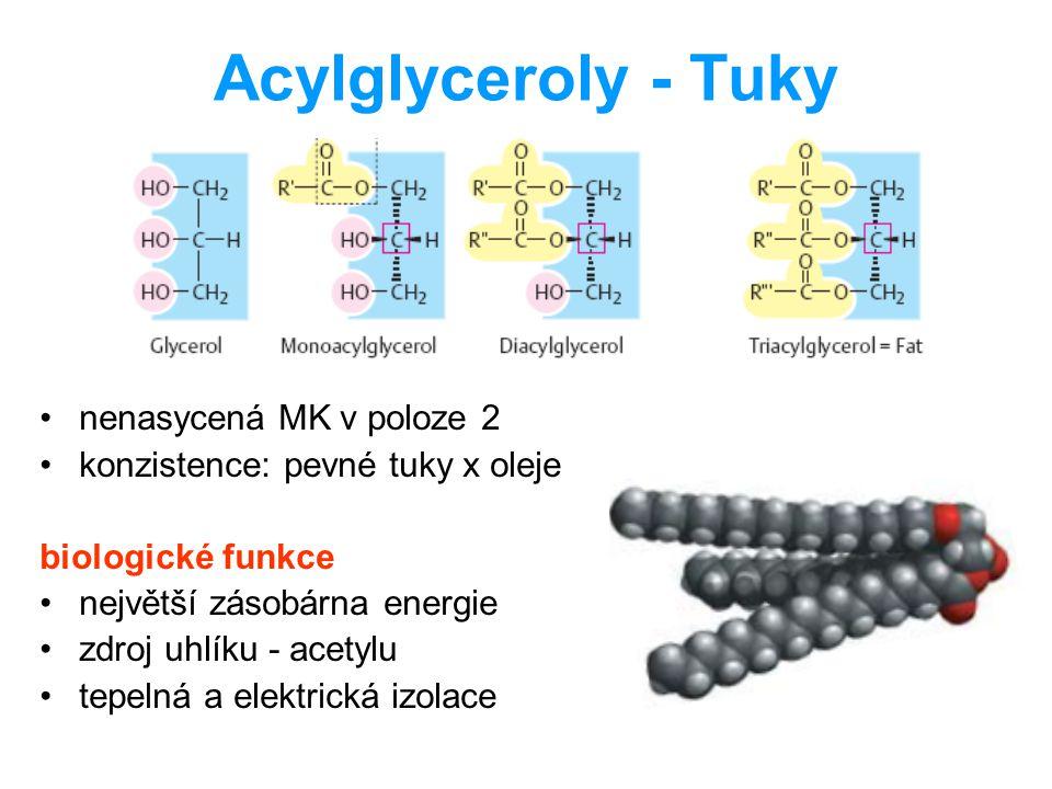 Acylglyceroly - Tuky nenasycená MK v poloze 2