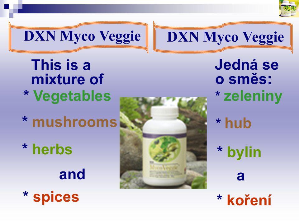 * bylin DXN Myco Veggie DXN Myco Veggie Jedná se o směs: