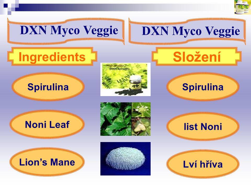 Složení DXN Myco Veggie DXN Myco Veggie Ingredients Spirulina