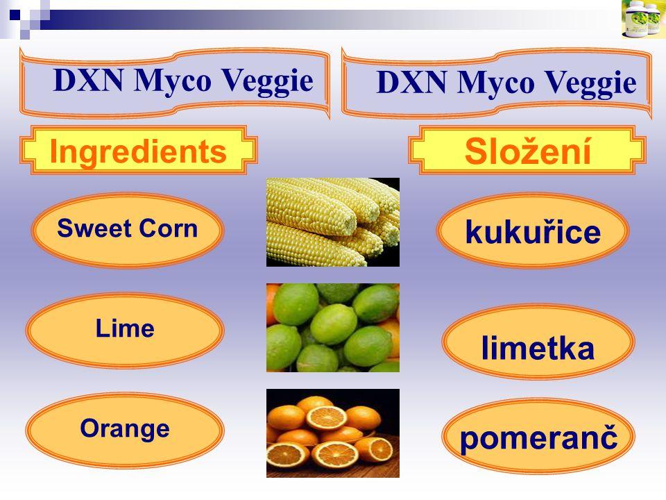 Složení DXN Myco Veggie DXN Myco Veggie Ingredients kukuřice limetka