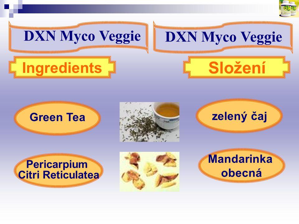 Složení DXN Myco Veggie DXN Myco Veggie Ingredients zelený čaj