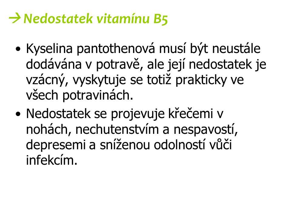  Nedostatek vitamínu B5