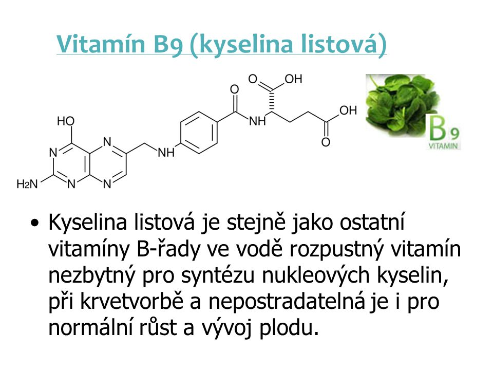Vitamín B9 (kyselina listová)