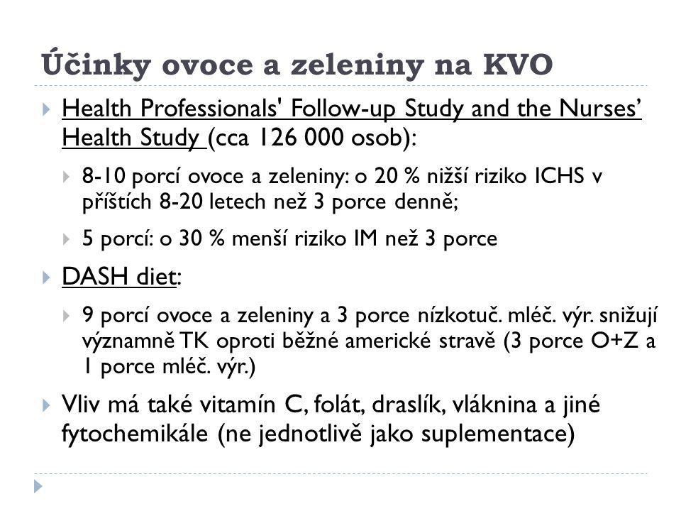 Účinky ovoce a zeleniny na KVO