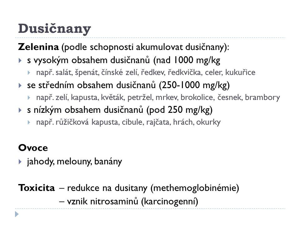 Dusičnany Zelenina (podle schopnosti akumulovat dusičnany):